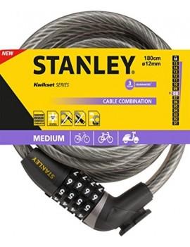 STANLEY 81320385111 BIKELOCK CADENAS A COMBINAISON AVEC CABLE FLEXIBLE NOIR/ANTHRACITE 12 X 1800 MM