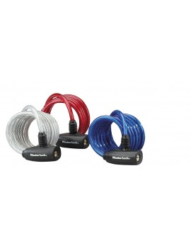 MASTER LOCK 3 CABLE ASSORTIS II MEME CLE BLEU/ROUGE/TRANSPARENT 1.80 M